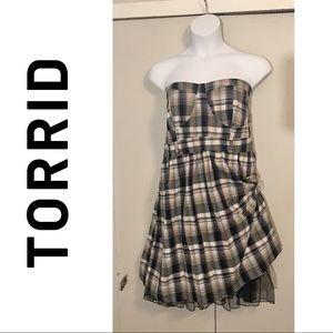 Plus size Torrid Strapless Plaid Western Dress